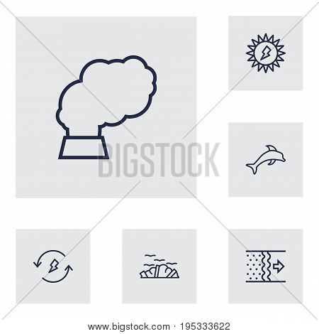 Set Of 6 Atmosphere Outline Icons Set.Collection Of Air, Solar, Garbage And Other Elements.