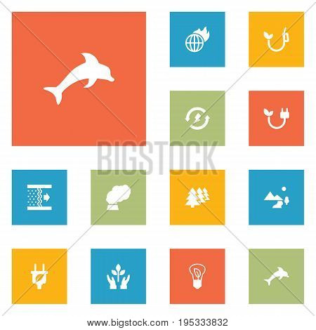 Set Of 12 Ecology Icons Set.Collection Of Energy, Contamination, Purification And Other Elements.