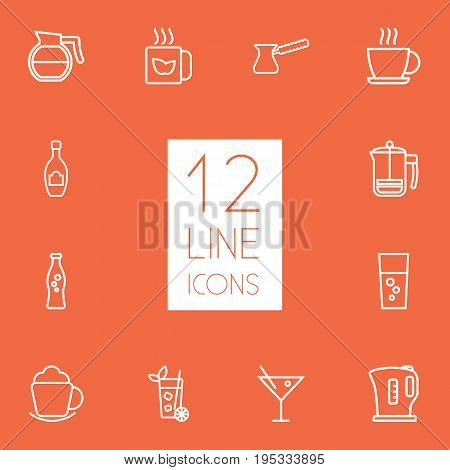 Set Of 12 Drinks Outline Icons Set.Collection Of Fizzy Water, Cocktail, Mojito And Other Elements.