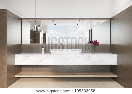 Brown Bathroom With A Marble Sink, Close Up
