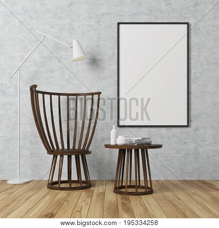 Empty room interior with concrete walls and a wooden floor. There is a wooden coffee table and a chair a poster on a wall and a white lamp. 3d rendering mock up