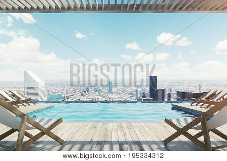 Wooden pier with rows of white and wooden deck chairs near a pool. Wooden ceiling and floor. Ocean. Cityscape. 3d rendering mock up