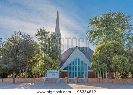 UPINGTON SOUTH AFRICA - JUNE 11 2017: The Dutch Reformed Church Upington-East in Upington a town in the Northern Cape Province