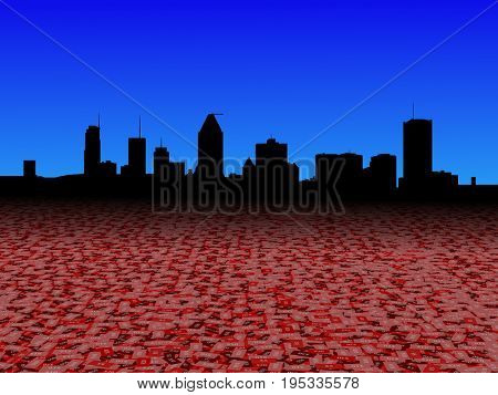 Montreal skyline with abstract dollar currency foreground 3d illustration