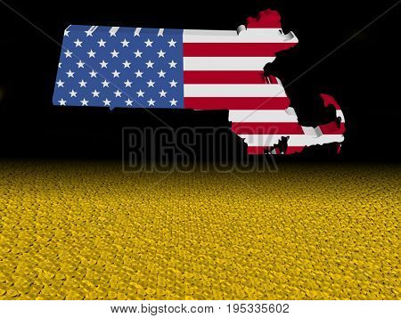 Massachusetts map flag with dollar coins foreground 3d illustration