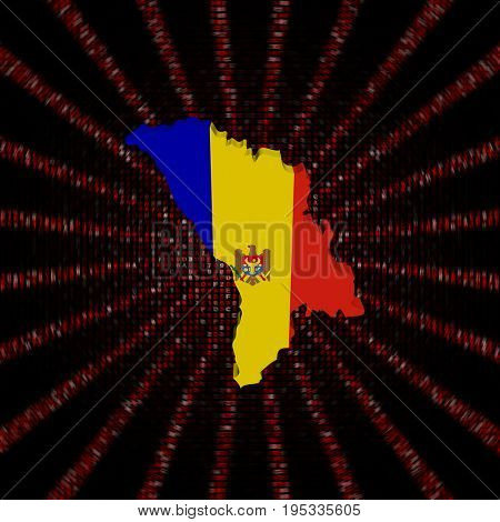 Moldova map flag on red hex code burst 3d illustration