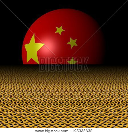 Chinese flag sphere and radioactive warning signs 3d illustration