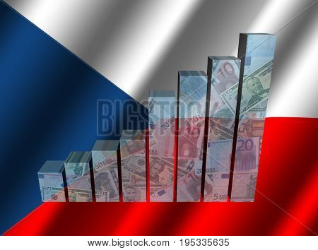 Currency graph on rippled Czech flag 3d illustration