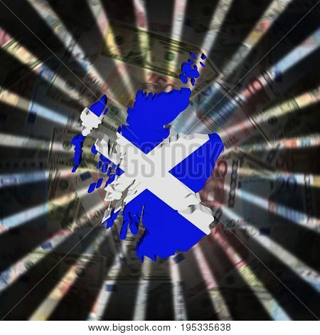 Scotland map flag on currency burst 3d illustration