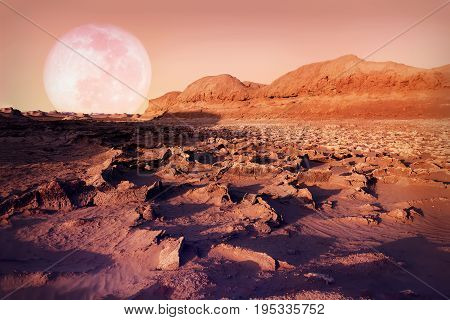 Lunar landscape in the Dasht-e Lut desert. The hottest place on Earth. Iran. Persia.