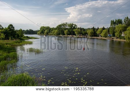 View on Netta river  in Augustow, Poland.