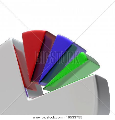 3D Circular diagram on white. Make your reports or presentations more illustrative.