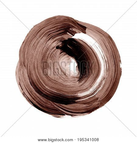 Brown Chocolate Textured Acrylic Circle. Watercolour Stain On White Background.