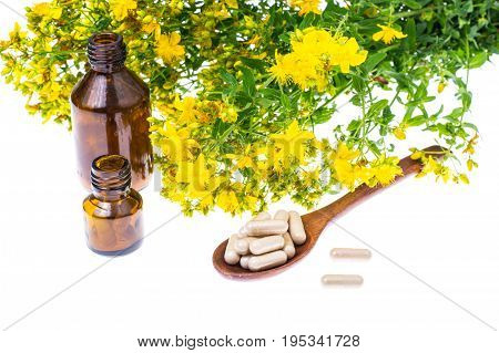 Natural capsules from St. John's wort. Studio Photo