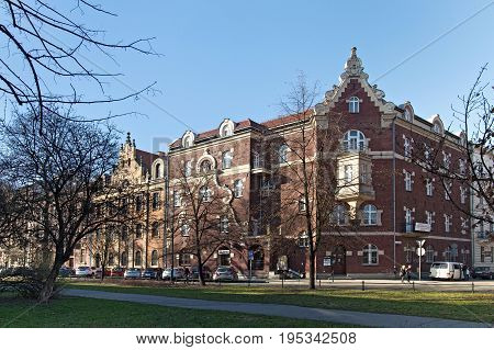 KRAKOW, POLAND - MARCH 28, 2017: The old house is called the House under the singing Frog. It was built in 1890 on Retoryka Street in the style of the southern renaissance. Former music school.