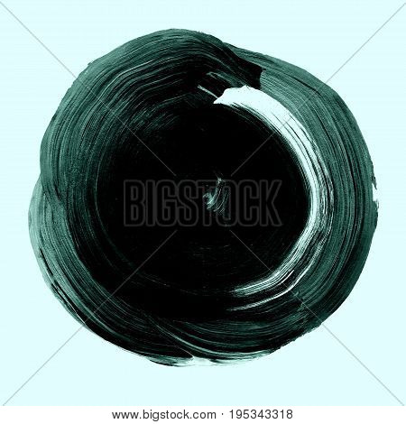 Dark Green Black Textured Acrylic Circle. Watercolour Stain On Mint White Background.