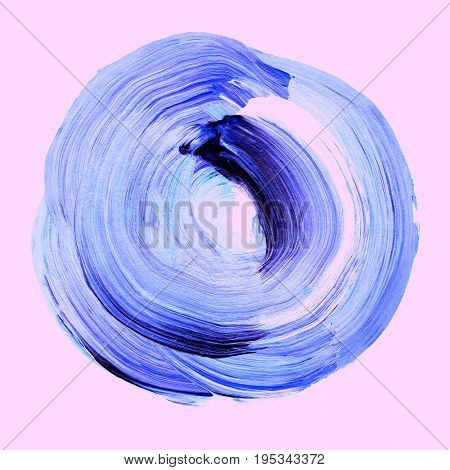 Light Blue Textured Acrylic Circle. Watercolour Stain On Primrose Pink Background.