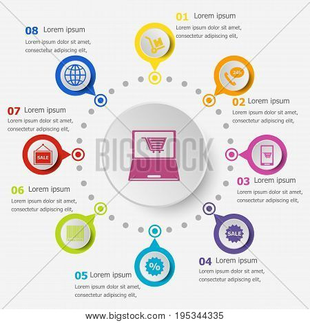 Infographic template with e-commerce icons, stock vector