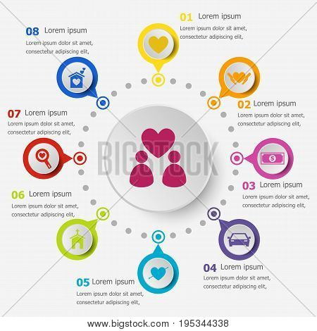 Infographic template with family icons, stock vector