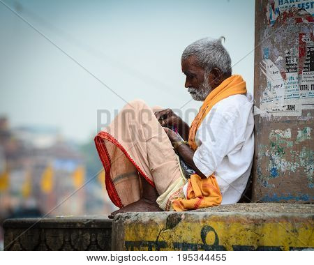 People On Riverbank Of Ganges In Varanasi, India