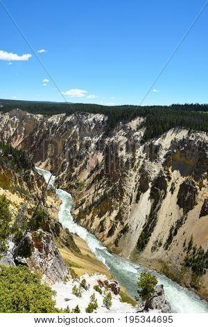 Yellowstone River seen from the Lower Falls overlook.