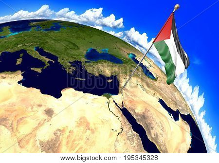 Palestine national flag marking the region location on world map. 3D rendering, parts of this image furnished by NASA