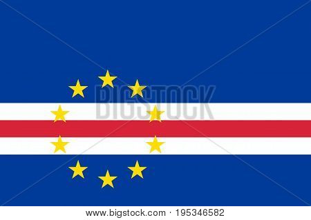 Cape Verde national flag and ensign, 10 stars, band of white and red on dark blue field, main islands chain of the nation. Flat style vector illustration
