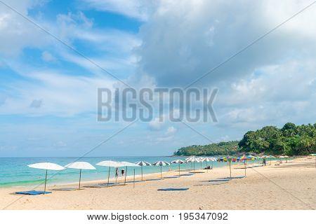 Sand Idillic Beach On Phuket Island In Thailand