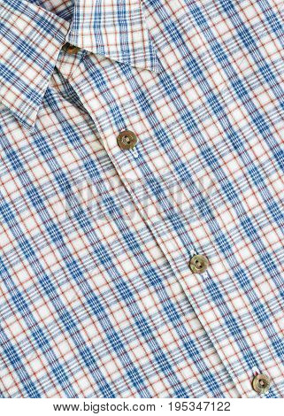 checked pattern style on blue and white shirt