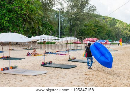 Sand Idillic Beach On Phuket Island In Thailand