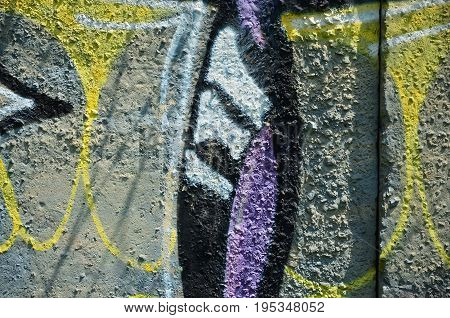 Texture Of A Fragment Of The Wall With Graffiti Painting, Which Is Depicted On It. An Image Of A Pie