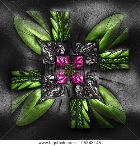 3D rendering of plastic background with embossed striped square flower fractal on leather
