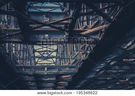 Old Rusty Steel Beam Construction, Rusted Steel Bridge