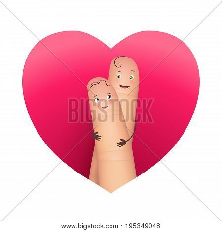 Happy copule hugging in red heart. Pair of realistic fingers in love. Beautiful true feelings of man and woman. Flat style vector illustration isolated on white background