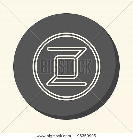 Zerocoin round linear icon with illusion of volume simple color change symbol of digital crypto currency