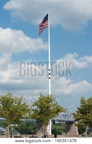 American flag flying in Cincinnati , Ohio