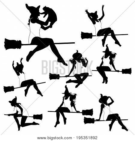 Set of vector silhouettes of flying witch. A slim witch flies on a broomstick in a hat in various poses.
