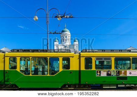 Tram And The Lutheran Cathedral, In Helsinki