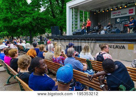 Esplanade Park With Musicians And Audience, In Helsinki