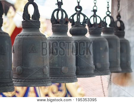 Row bells in the temple asian. buddhist