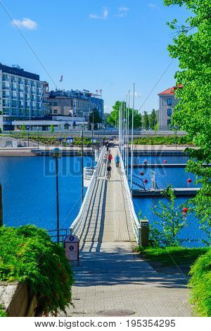 View Of A Foot Bridge In Savonlinna