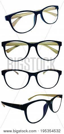 Set of Eyeglass frames, black, brown inner leg On a white background.isolated