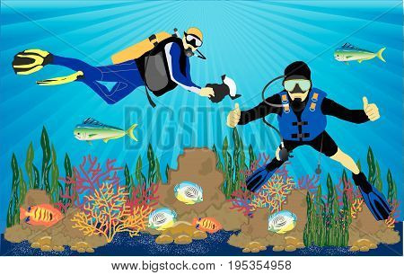 one underwater photographer and one scuba diver and coral reef with fish on a blue sea. Vector illustration