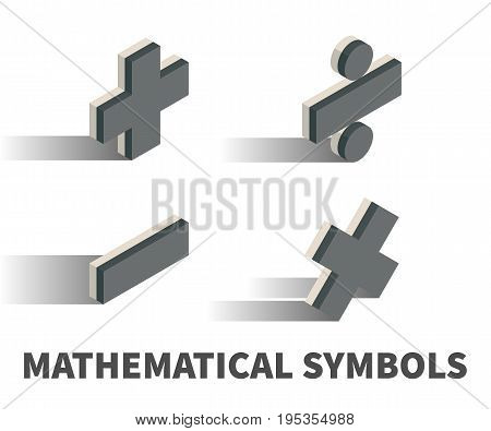 Mathematical symbols icon vector symbol in isometric 3D style isolated on white background.