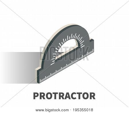 Protractor icon vector symbol in isometric 3D style isolated on white background.