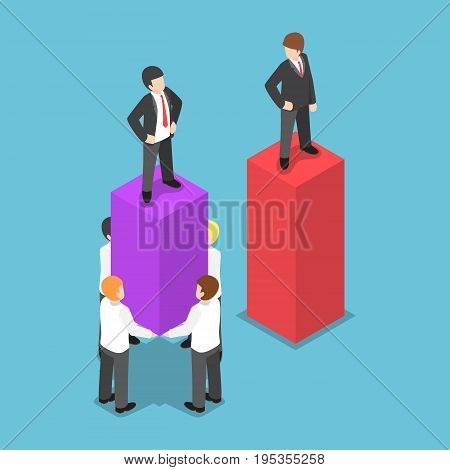 Isometric Leader Use His Employees Carrying And Increase Business Graph