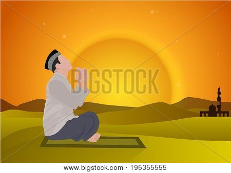 abstract man praying with sunset background vector