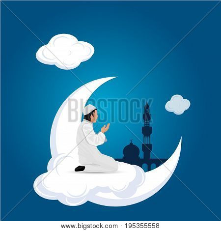 man praying on cloud blue background vector
