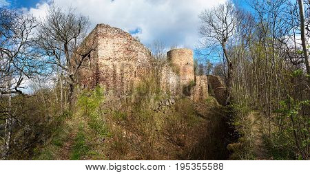 Ruins of the abandoned castle Valdek in the Central Bohemia region, Czech republic