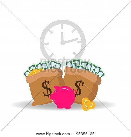 Preserve, Save, Conservation Vector Concept with Icon set in two color such as Piggy Bank, Money, Time